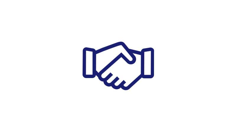 An illustration of a handshake.