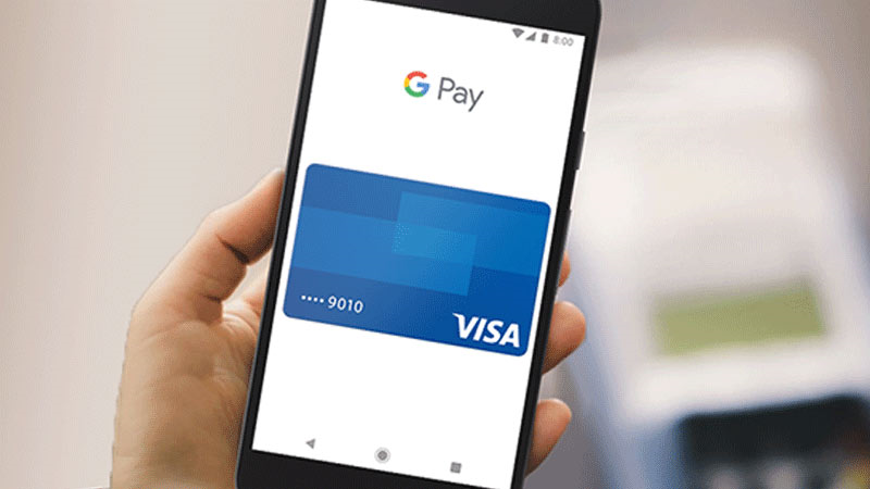 Google Pay displayed on smart phone.