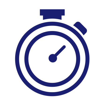 Speed represented by stopwatch icon.